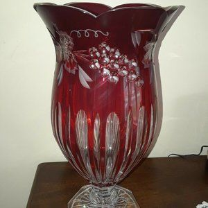 "Cranberry Cut Crystal Vase 13"" Footed Vintage"